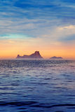 Ibiza sunset in Balearic islands view from sea Stock Photography