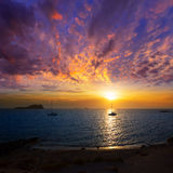 Ibiza sunset from Cala Conta Comte in San Jose Stock Photos
