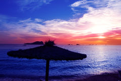 Ibiza sunset in cala Conta Conmte Royalty Free Stock Photography