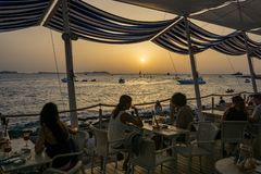 Ibiza Sunset @ Dinner stock image