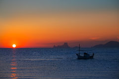Free Ibiza Sunset Es Vedra View And Fisherboat Formentera Royalty Free Stock Image - 34292446