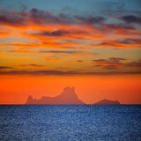 Ibiza sunset Es Vedra view from Formentera Royalty Free Stock Images
