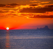Ibiza sunset Es Vedra view from Formentera Royalty Free Stock Photo