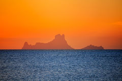 Ibiza sunset Es Vedra view from Formentera Stock Images