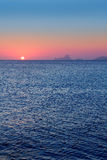 Ibiza sunset from Formentera with Es Vedra Stock Image
