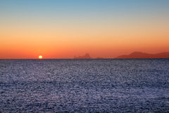 Ibiza sunset from Formentera with Es Vedra Stock Photos