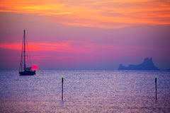 Free Ibiza Sunset Sun View From Formentera Island Stock Photo - 35465570