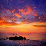 Ibiza sunset view from formentera Island stock images