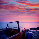 Ibiza sunset view from vintage car at Formentera Royalty Free Stock Photography