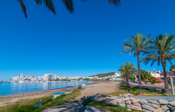 Ibiza sunshine on the waterfront in Sant Antoni de Portmany,  Walk along beach or main boardwalk. Stock Photos