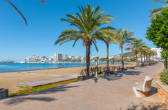 Ibiza sunshine on the waterfront in Sant Antoni de Portmany,  Walk along beach or main boardwalk. Stock Photo