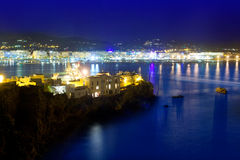 Ibiza town port blue sea night lights Royalty Free Stock Photos