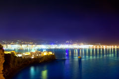 Ibiza town port blue sea night lights Royalty Free Stock Images