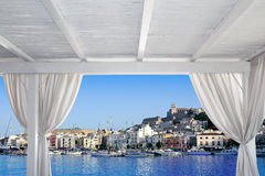 Ibiza town view from white gazebo Stock Photos