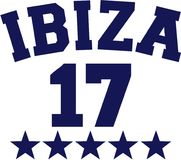 Ibiza 17 vector. Ibiza 17 with blue stars vector vector illustration