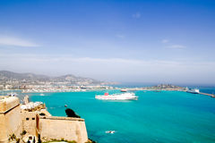 Ibiza view from castle ferry boat Balearic islands Royalty Free Stock Photos