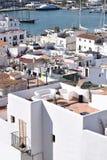Ibiza - vista dal oldtown al porto fotografia stock libera da diritti