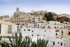 Ibiza white balearic island village downtown Stock Image