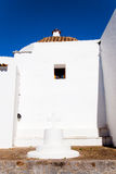 Ibiza white church in sant Joan de Labritja Stock Images