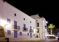 Ibiza white houses in night with palm trees Royalty Free Stock Photography