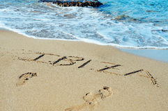 Free Ibiza Written In The Sand Royalty Free Stock Photography - 70570737