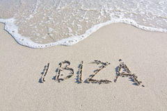 Ibiza written in sand Royalty Free Stock Photo