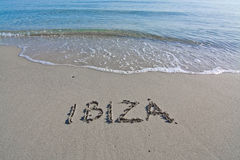 Ibiza written in sand Stock Photography