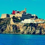 Ibiza镇,在Ibiza海岛,巴利阿里群岛,西班牙 库存图片
