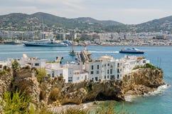 Ibizastad met Eixample en jachthaven Stock Fotografie