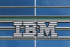 IBM logo on a building. Skejby, Denmark - September 11, 2016: IBM logo on a building. International Business Machines Corporation commonly referred to as IBM is Stock Photos
