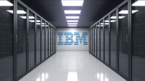 IBM logo on the wall of the server room. Editorial 3D rendering. IBM logo on the wall of the server room. Editorial 3D Stock Image