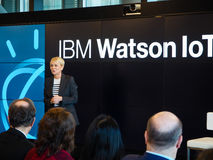 IBM Watson IoT General Manager Harriet Green delivers an address Stock Photo