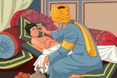 Ibn al-Haitam Arabian Optician Checking en paciente libre illustration