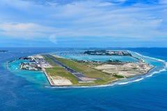 Ibrahim Nasir International Airport. Aerial view of Ibrahim Nasir International Airport on Hulhule Island, Maldives Stock Photos