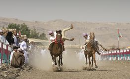 Traditional omani horse race. Ibri, Oman, 28th April 2018: omani men at a traditional horse race event where young riders show their skills Royalty Free Stock Photography