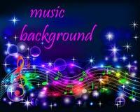Ibright błyszczący neonowy podkład muzyczny z notatkami Zdjęcia Stock