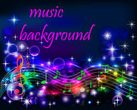 Ibright shiny neon background music with notes Stock Photos