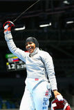 Ibtihaj Muhammad of the United States competes in the Women's individual sabre of the Rio 2016 Olympic Games. RIO DE JANEIRO, BRAZIL - AUGUST 8, 2016: Ibtihaj Stock Photo