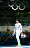 Ibtihaj Muhammad of the United States competes in the Women`s individual sabre of the Rio 2016 Olympic Games. RIO DE JANEIRO, BRAZIL - AUGUST 8, 2016: Ibtihaj stock image