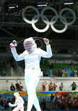 Ibtihaj Muhammad of the United States competes in the Women`s individual sabre of the Rio 2016 Olympic Games. RIO DE JANEIRO, BRAZIL - AUGUST 8, 2016: Ibtihaj Stock Images