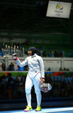 Ibtihaj Muhammad of the United States competes in the Women`s individual sabre of the Rio 2016 Olympic Games. RIO DE JANEIRO, BRAZIL - AUGUST 8, 2016: Ibtihaj Royalty Free Stock Photography