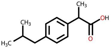 Ibuprofen structural formula Stock Photos