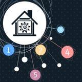 Icône à la maison chaude avec le fond au point et avec le style infographic illustration libre de droits