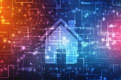 Icône à la maison à l'arrière-plan numérique, fond de concept de Smart Home illustration libre de droits