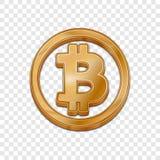 Icône à la mode de vecteur du style 3d de bitcoin d'or Image libre de droits