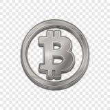 Icône à la mode de vecteur du style 3d de bitcoin argenté Photographie stock