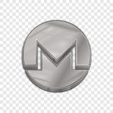 Icône à la mode de vecteur du style 3d de pièce de monnaie argentée de monero Images libres de droits