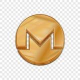 Icône à la mode de vecteur du style 3d de pièce de monnaie d'or de monero Images stock