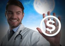 Icône émouvante de graphique d'argent du dollar d'homme de docteur Photos libres de droits