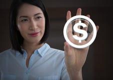 Icône émouvante de graphique du dollar de femme d'affaires Photo stock